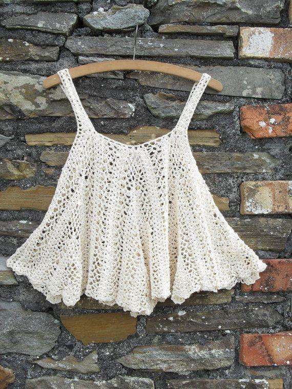 Vintage 70s Crochet Tent Waterfall scallop Vest tank strap top t shirt…