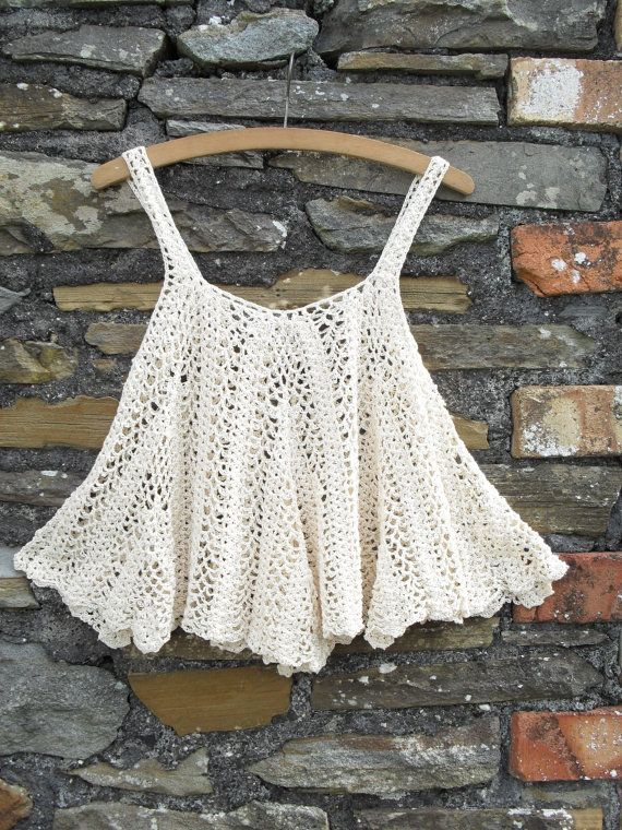 Vintage 70s Crochet Tent Waterfall scallop Vest tank strap top t shirt…