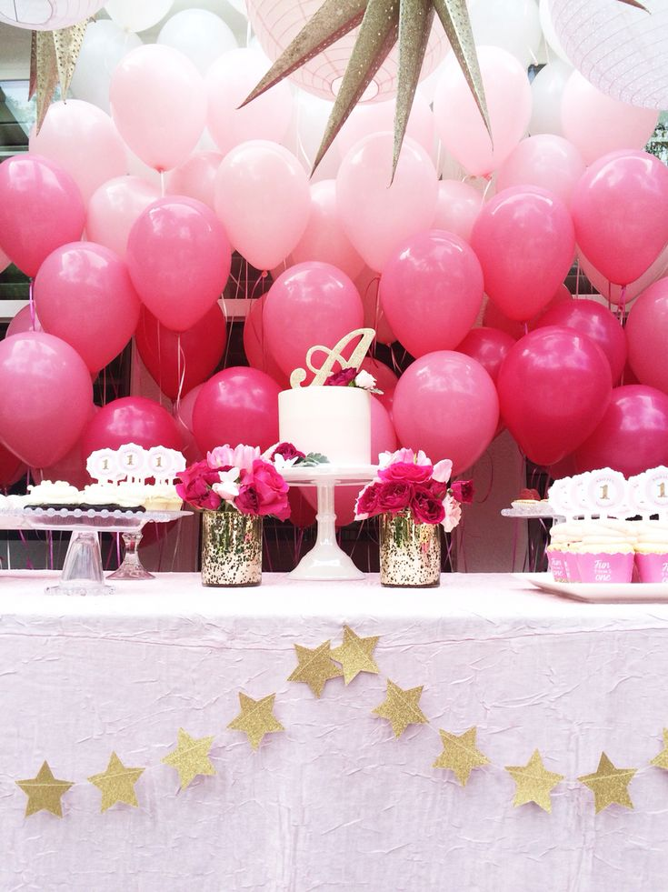 Pink ombré balloon backdrop. 1st Birthday Party. Pink, magenta and gold. By Sugar Branch Events #desserttable #firstbirthdayideas