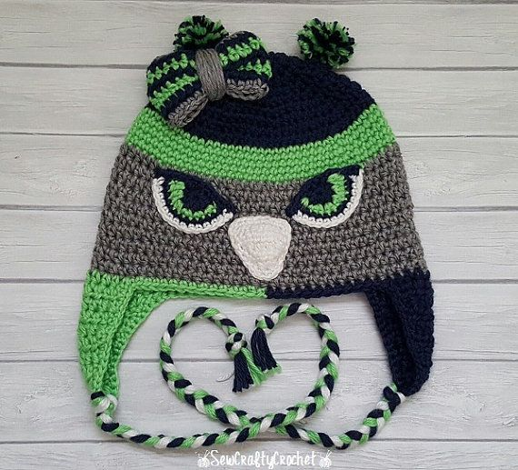 Crochet Seahawks Toddler Hat with a Bow by SewCraftyCrochetShop