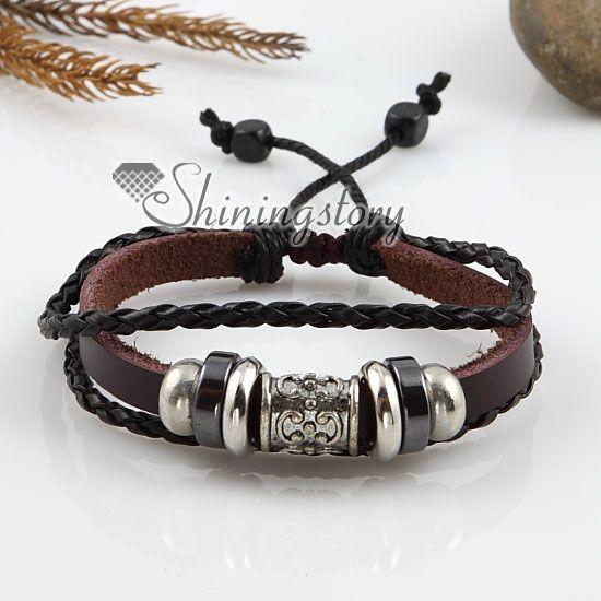 leather jewelry | ... leather jewelry   Adjustable alloy genuine leather bracelets unisex