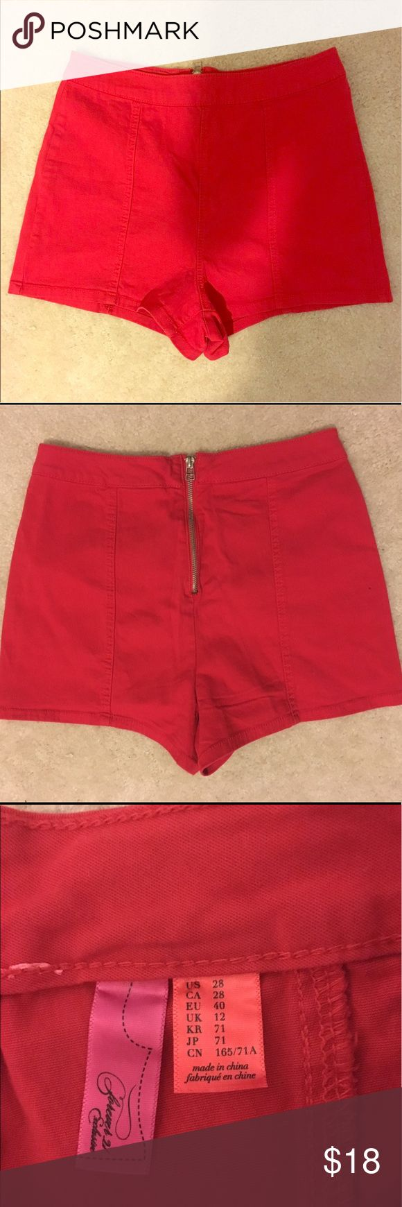 Red high waist short shorts Red high waist short shorts with zipper in the back. Cute and retro!! Forever 21 Shorts