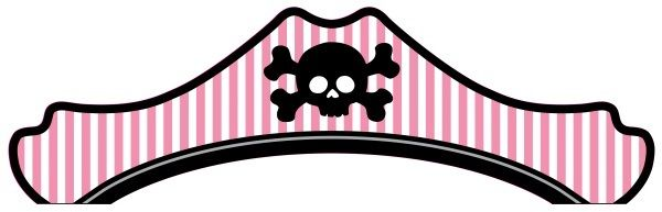 Pirate Skull Crossbones Pink White Party Hats - 8 Pack