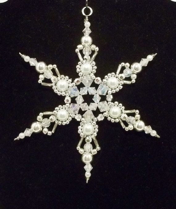 Snowflake Ornament - White Pearl Silver and Clear AB - Christmas Ornaments - Beaded Ornaments - Snowflakes