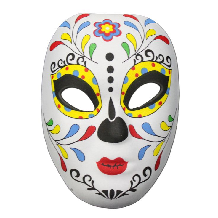 This Day of the Dead masquerade mask with a multicolored leaf design on the forehead is the perfect item to complete your festival outfit.  It is a made from a soft rubber half mask shell with a material covering.The Day of the Dead (Dia de Muertos) festival is celebrated throughout Mexico.  It is a multi-day holiday and focuses on gatherings of family and friends to pray for and remember friends and family members who have died, and help support their spiritual journey.