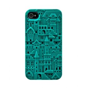 3D Avant-garde Chateau Case For iPhone 4/4S - Turquoise