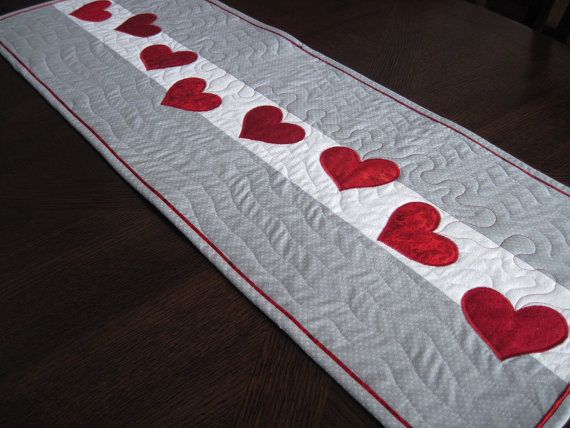 Trail of Hearts Quilted Valentine Table Runner by SnuggleMeDesigns