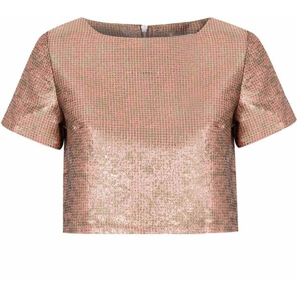 Rose Gold Jacquard Crop Top (58 AUD) ❤ liked on Polyvore featuring tops, crop top, shirts, gold, short sleeve crop top, jacquard shirt, shirt crop top and short sleeve tops