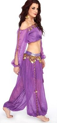 HAREM GENIE BELLY DANCER COSTUME W/ COINS (PURPLE) - Item #4798 on www.bellydance.com