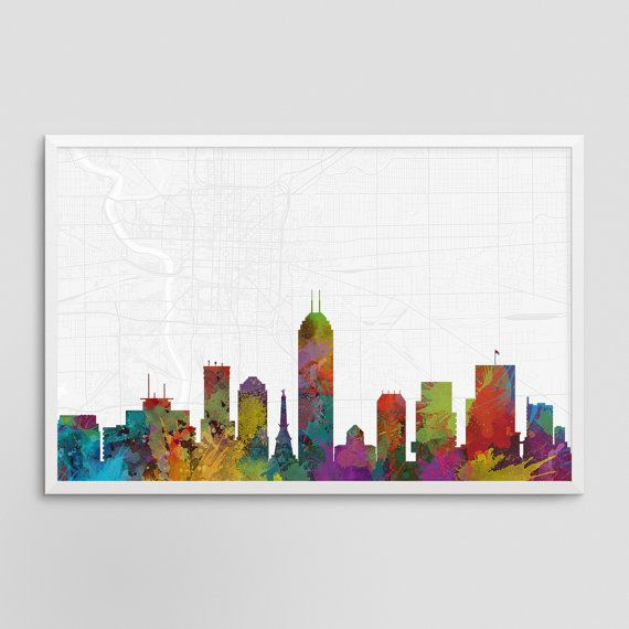 Charlotte North Carolina Cityscape and Street Map Watercolor Art Print Office or Home Wall Decor