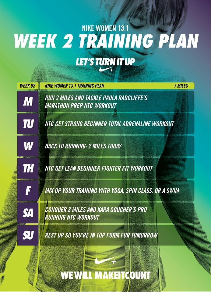 Onto Week 2!!!  Let's turn it up in week two. Follow our half marathon training…