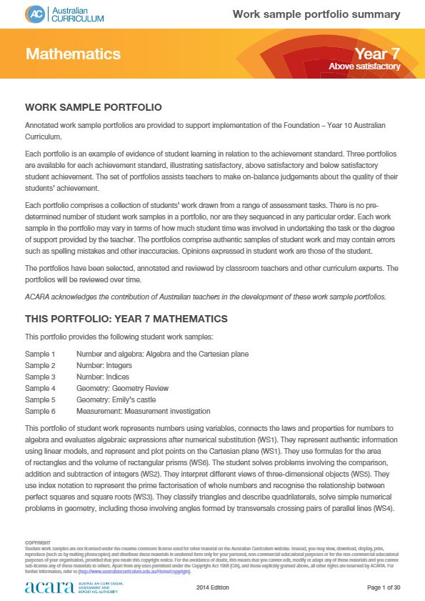 Year 7 Mathematics work sample portfolio - above satisfactory