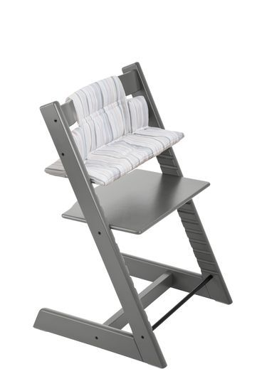 The #Stokke Tripp Trapp® Chair is coming soon in Storm Grey! Shown here with Cushion