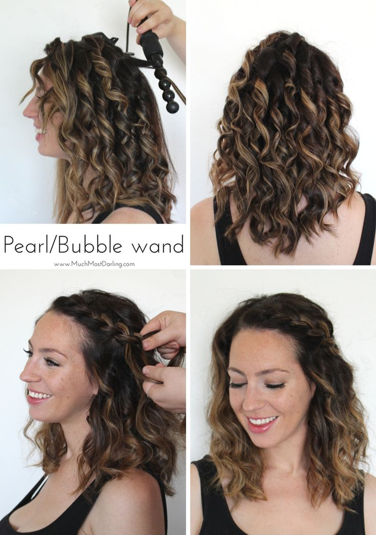 """Quick and easy braided hairstyle with pearl / bubble curling wand.  This quick infographic and tutorial will give you a visual difference between the 5 wands included in the Bombay Hair 5-in-1 Curling Wand: the 32mm vs 25mm vs 13-25mm (reverse) vs 19mm vs Pearl / Bubble wand. Each of the five interchangeable barrels are tourmaline infused with ceramic and emit infrared negative ions, which means frizz free curls and styles. Use code """"SHYNNZ"""" to save 50% off all hair tools from Bombay!"""