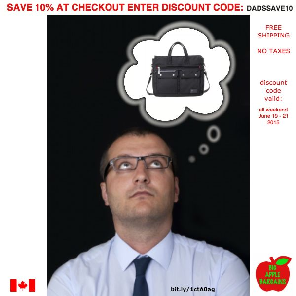 A new #laptop bag for #Dad  perfect gift for #FathersDay!  SAVE 10% on ANY of our Totes & Bags this weekend!  FREE SHIPPING / NO TAXES   www.bigapplebargains.ca/collections/totes-bags