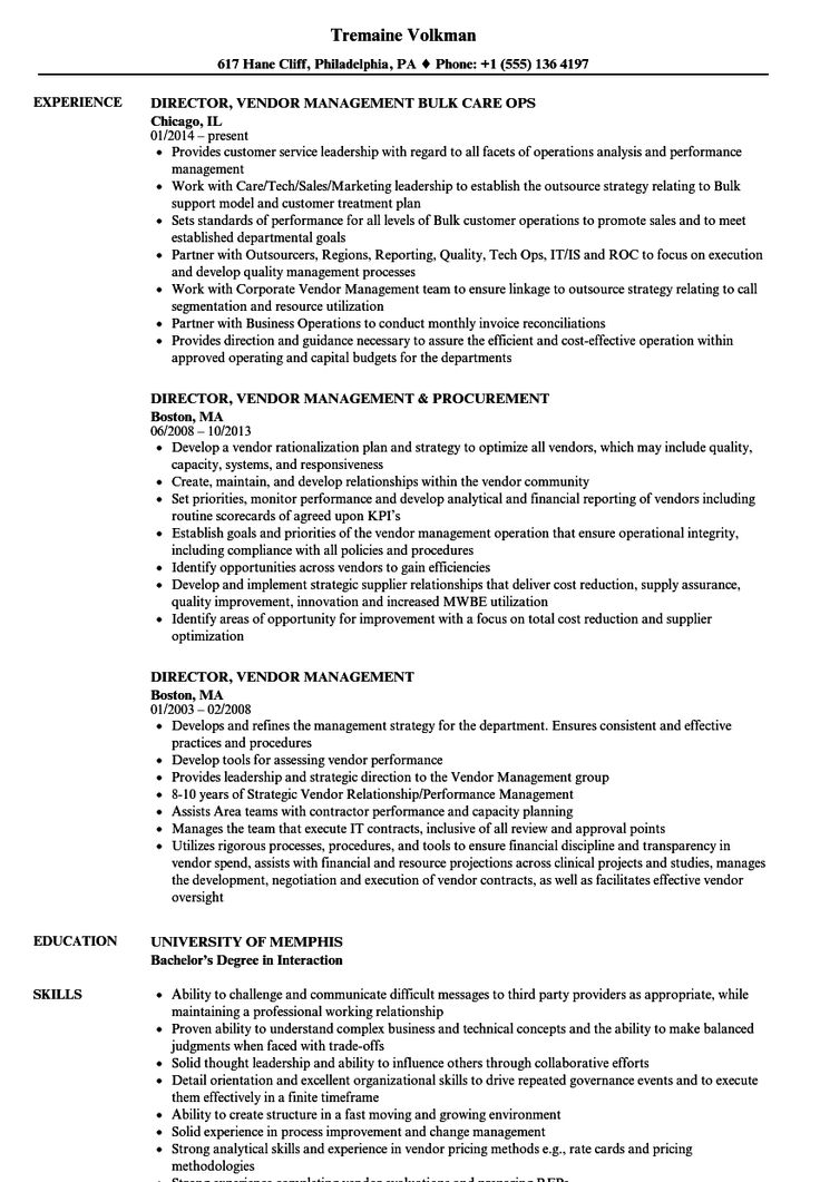 Resume Examples Vendor Management in 2020 (With images