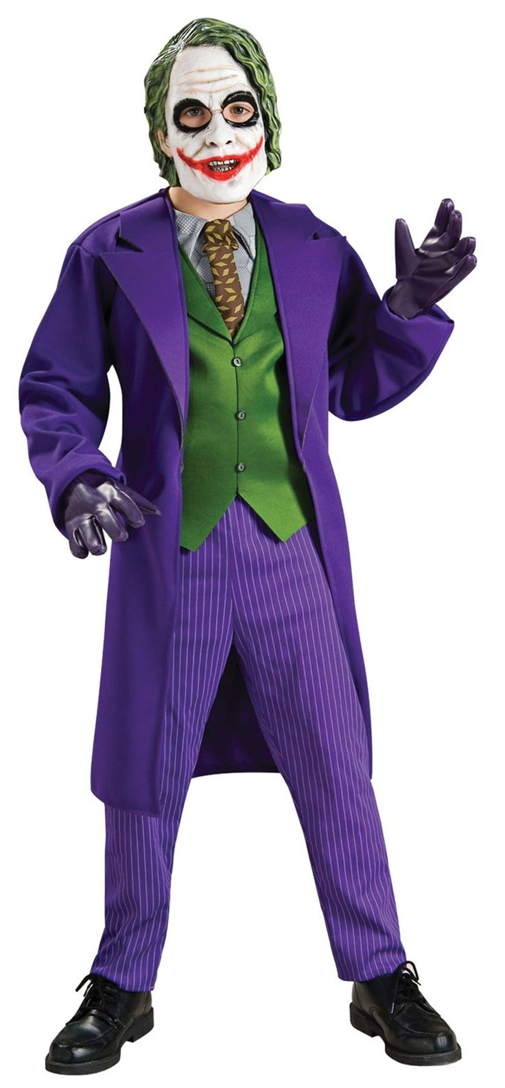 Deluxe Joker Costume - Small. The Deluxe Joker kids costume includes the jacket with attached shirt, tie and vest, pants and mask. Our Deluxe Joker comes in child sizes Small, Medium, Large. This Deluxe Joker is an officially licensed Batman The Dark Knight costume. Purple Joker kids gloves are sold separately from this Deluxe Joker costume for boys.