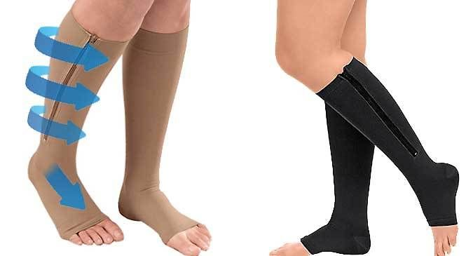 Open Toe Zipper Compression Socks - Nude or Black Keep walking with these 1 or 2 Pairs of Open Toe Zipper Compression Socks      Choose from nude or black in small or large sizes      Please see 'Full Details' for complete size guide      Increase your blood flow and reduce swollen legs      Perfect if you sit down or stand for long periods of time      Knee high length, they cover the most...