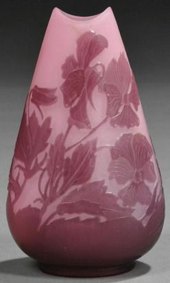 glass, France, A Galle Cameo art glass vase, France, shaped mouth on flaring pillow-form cameo decorated with purple wildflowers on pink ground, signed circa 1901-1935