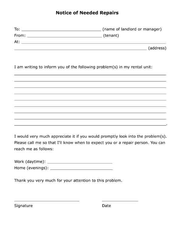 """Free printable letter to landlord """"Notice of Needed Repairs"""". PDF format."""
