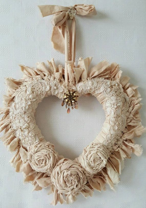 Rag wreath , Beige Heart wreath , Fabric wreath , Shabby chic wreath , Gift for her , Shabby chic home decor , Wall decor , Shabby chic