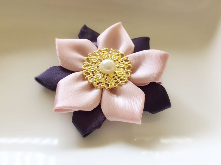 Handmade Pink Purple Satin Ribbon Flower Gold Filigree Traditional Korean Hanbok Hair Clip pin Barrette Accessory by letheva on Etsy