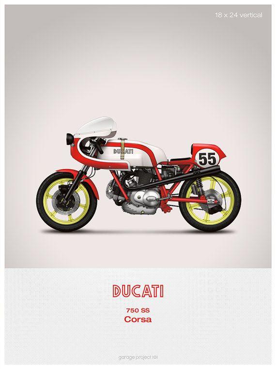 Ducati 750ss Corsa moto illustration affiche, impression 18 x 24 pouces