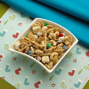 Reindeer Chow  Santa's helpers will enjoy this sweet-and-salty snack mix featuring Pop-Tarts® Sugar Cookie toaster pastries, Kellogg's® Crispix® cereal, pretzels, cashews, candy, peanuts and white chocolate.