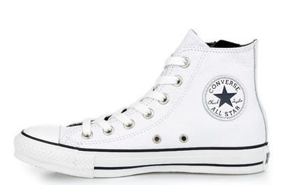 Chuck Taylor All Star Leather Side Zip- Hi, White
