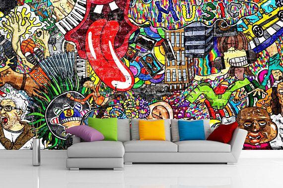Removable Wallpaper Mural Peel Stick Music Collage On A Graffiti Wall Art Mural Wallpaper Graffiti Wallpaper
