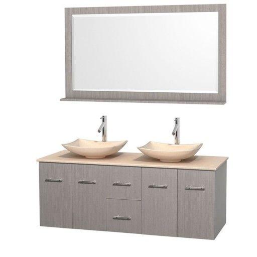 "Wyndham Collection Centra 60"" Double Bathroom Vanity Set for Vessel Sinks - Gray Oak WC-WHE009-60-DBL-VAN-GRO"