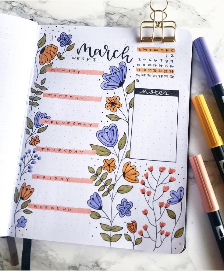 Floral March bullet journal