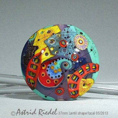 Red Ribbon abstract Art Glass 37mm Focal bead by AstridRiedel, $85.00