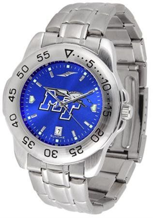 Middle Tennessee State MTSU Men's Stainless Steel Wristwatch by SunTime. $64.95. Links Make Watch Adjustable. Men. AnoChrome Dial Enhances Team Logo And Overall Look. Officially Licensed Middle Tennessee State Blue Raiders Men's Stainless Steel Wristwatch. Stainless Steel-Scratch Resistant Crystal. Middle Tennessee State men's stainless steel dress watch. College wristwatch features date calendar function plus a rotating bezel/timer circles the scratch resistant cryst...