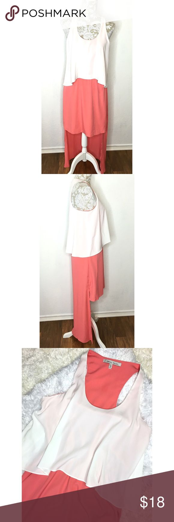 Sweet Rain coral & white high low sleeves dress S Sweet Rain coral & white high low sleeveless dress w/ crop trapeze layer. Size SMALL. 100% polyester. EUC. Smoke free home. Cute spring and summer dress just add wedges or flip flops. ❌No trades❌ Sweet Rain Dresses High Low