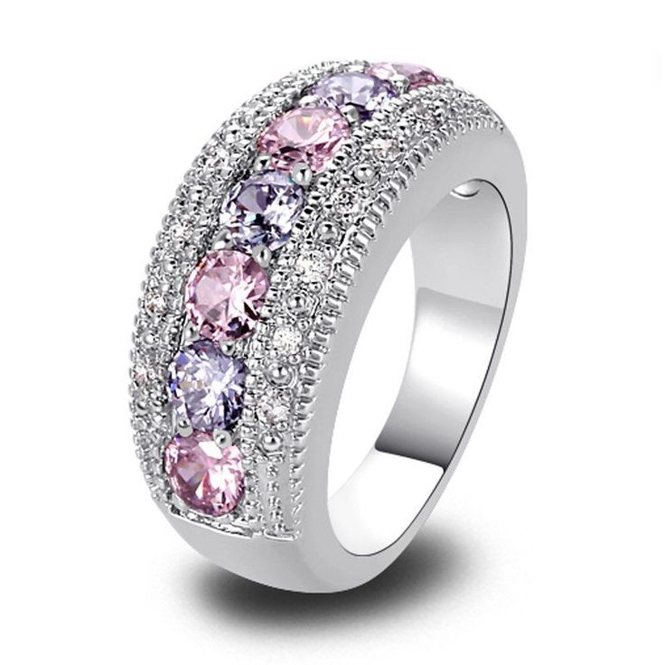 18k White Gold Plated Round Cut Pink & White Sapphire Ring - Blingaholique