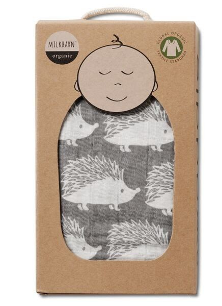 MilkBarn Baby Organic Muslin Swaddle Blanket - Grey Hedgehog