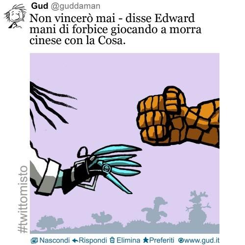 I'll never win – says Edward Scissorhands, playing rock-paper-scissors with the Thing.     Edward mani di forbice + la Cosa dei Fantastici Quattro