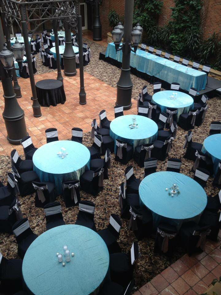 #tbt to this beautiful little number we did at the Inn at St John's inspired by Breakfast at Tiffany's with our signature blue linens with black chaircovers and silver sashes. #wedding #affairstoremember #chaircovers #black #silver #tiffanyblue #innatstjohns #atrium #breakfastattiffanys #tiffanyblue #crystal #classic #modern #eventlinen