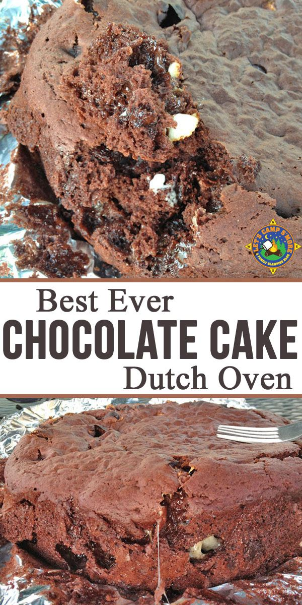 Best Ever Dutch Oven Chocolate Cake Recipe - Need a great camping dessert recipe? This Chocolate Cake recipe is made using a cake mix and baked in the dutch oven. It is magnificent! It's the perfect camping dessert recipe. #dessert #camping #DutchOven