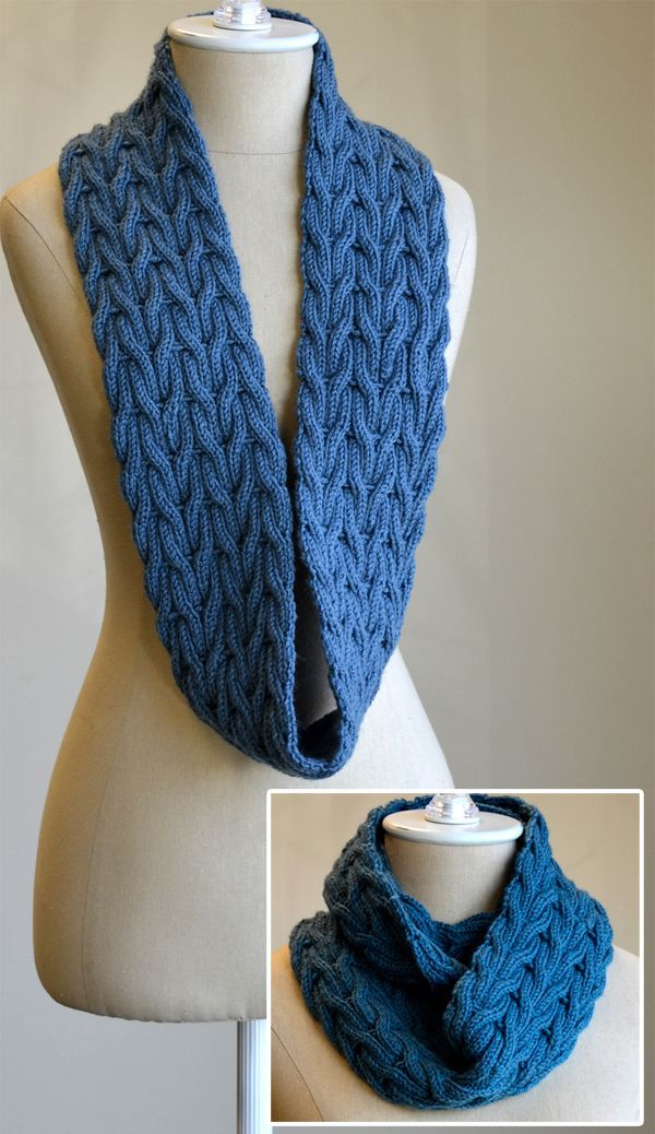 Free Knitting Pattern for Wishing Cowl Infinite Scarf - This fully reversible infinite scarf features a wishbone cable pattern that looks the same on both sides. Designed by Universal Yarn Design Team