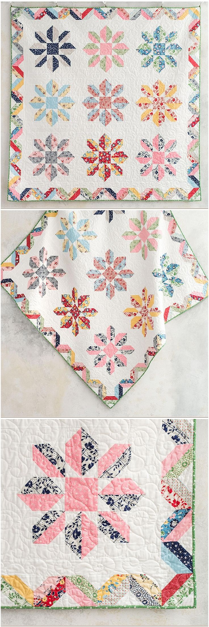 Radiance 1930's Revival Quilt by Craftsy.  Dresden plate quilt using   half square triangles.  Fat Quarter friendly quilt using boundless   fabrics.  affiliate link.