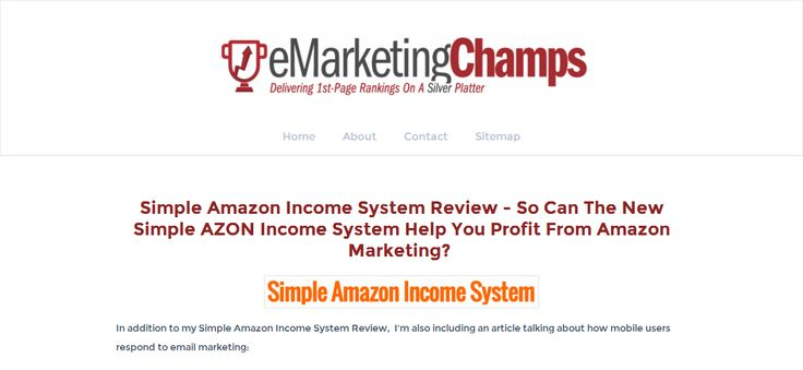 Check out this exclusive review of the Webinar Alchemy and Simple Amazon Income System and learn about the advantages and dis-advantages of this product -- Amazon Affiliate marketing --- http://emarketingchamps.weebly.com/simple-amazon-income-system.html