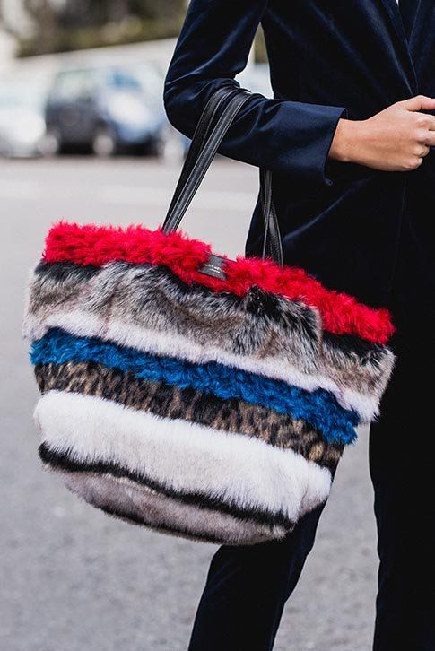 Multi-Coloured Tote Bag.  Add a pop of scene-stealing colour to your look with the new Poppy Soft Tote from Kurt Geiger London, complete with a furry textured upper and a practical shoulder strap, this tote bag is perfect for your everyday essentials