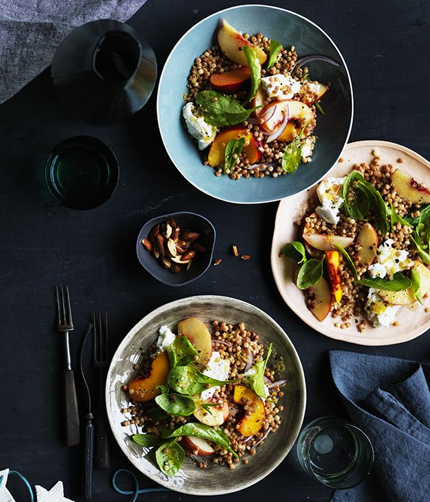A beautifully simple salad of peach, mozzarella and fregola,  adds a little heft to this otherwise light salad - a winning combination.