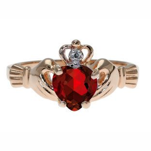 Rose Gold Diamond Garnet January Birthstone Heart Irish Claddagh Ring Gemologica.com offers a large selection of #Irish #Claddagh #Symbol #Rings in #Silver #10K #14K #18K #yellow #rose #white #black gold with #birthstones #gemstones #wedding #engagement rings for #men #women. Let love and friendship reign with Women's and men's claddagh rings at #Gemologica #jewellery #customer #reviews