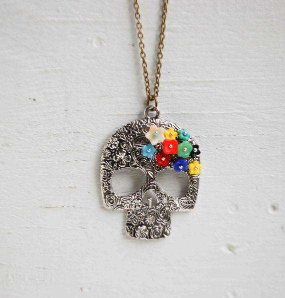 Day of the Dead SUGAR SKULL Flower Pendant Glass Flower Beads Silver Skull Spiritual Folk Art Mexican Skeleton