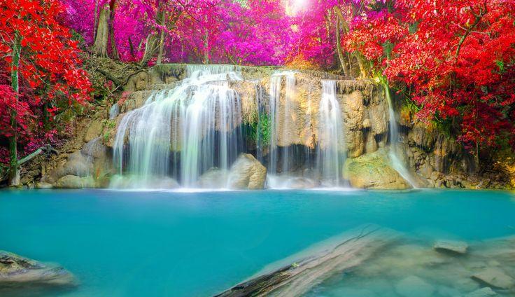 Wodospad, Roślinność, Rzeka, Kamienie
