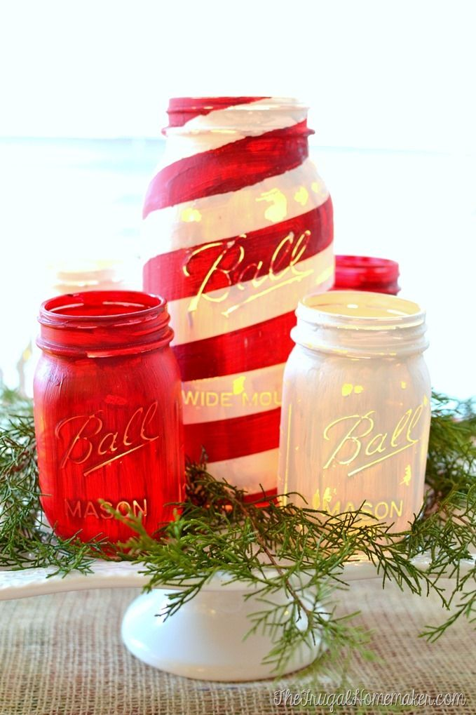 Painted Mason Jars for Christmas, red & white and candy cane painted jars: