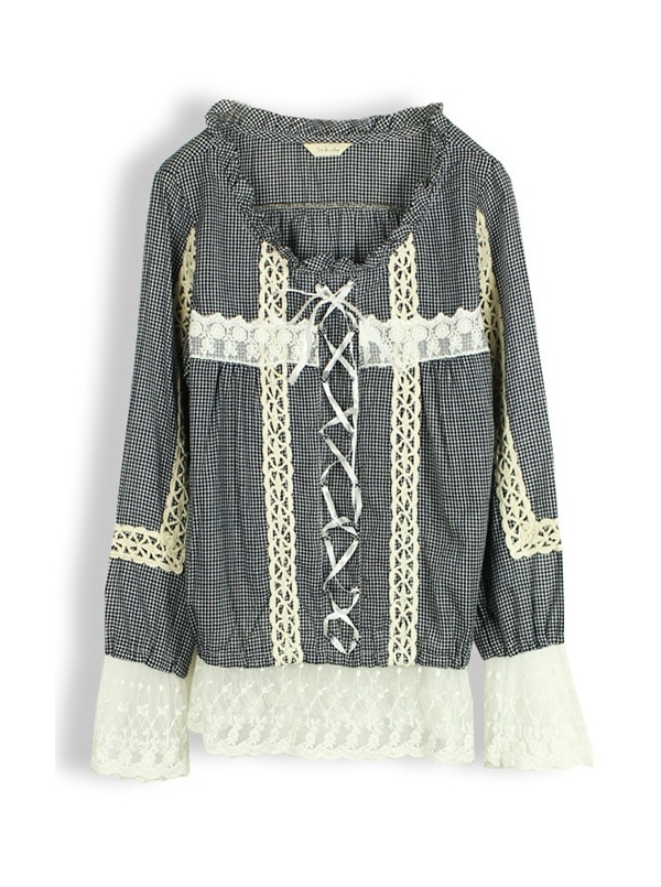 black long sleeve round neck embroidery lace shirt -